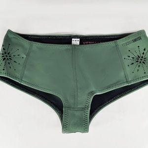 Women's Green Lasercut Neoprene Bikini Bottom